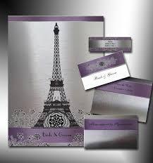 eiffel tower wedding invitations silver and purple metallic eiffel tower wedding set river jude