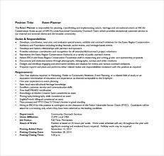 event planner resume sle event planner resume 7 documents in pdf word