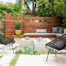 backyard decks and patios ideas with bench and trees and metal