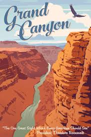 Arizona travel posters images Grand canyon national park vintage travel poster by steve thomas jpg