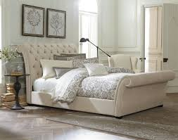 astounding brown tufted leather sleigh bed design with upholstered