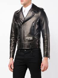 biker jacket sale saint laurent leather biker jacket in black for men lyst