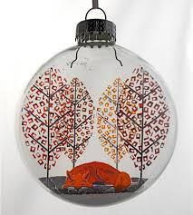 glass mr fox christmas ornament features happy holidays glak