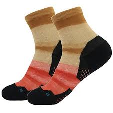 running cushioned socks orange huso colorful striped pattern