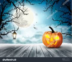 scary halloween background pumpkin moon vector stock vector