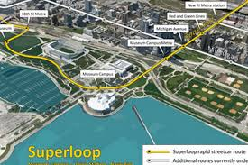 Chicago Downtown Map by Group Proposes Downtown Rapid Streetcar U0027superloop U0027 Curbed Chicago