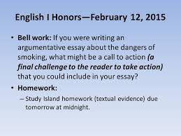 dangers of smoking essay Millicent Rogers Museum English I Honors   February          Bell work  If you were writing
