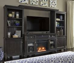 Wall Unit Townser Waxy Grayish Brown Large Entertainment Wall Unit From