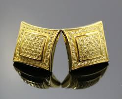 gold stud earrings for men 14k yellow gold finish lab diamond silver stud square earring men