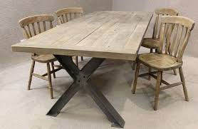 X Leg Dining Table Metal Base Table A Sturdy Industrial Style Table With An Oak Top