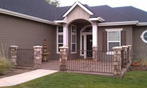 exterior fascinating image of front porch decoration using dark