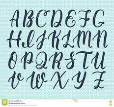hand drawn latin calligraphy brush script of capital letters