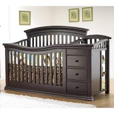 wooden baby crib in solid black finish with 3 drawers and rack for