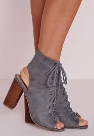 womens boots missguided lace up heeled boots grey missguided