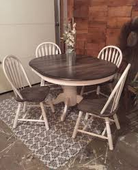 Painted Dining Table by Kitchen Table Transformation Using Chalk Paint And Wood Stain
