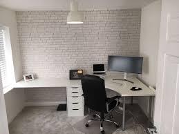 black gaming computer desk setup with ikea linnmon corner desk and
