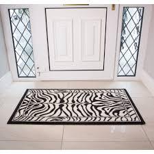 Interior Door Mats Shiraz Black White Zebra Animal Interior Door Mat Rug Kukoon
