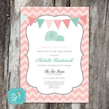 baby shower invitation elephant pink coral teal