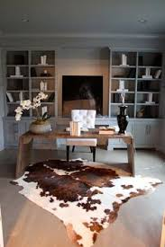 Gray Home Office With Cow Hide Rug  Pinteres - Designing a home office