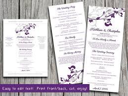 wedding program microsoft word template whimsical vines eggplant
