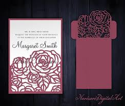 wedding pocket envelopes roses wedding invitation pocket envelope 5x7 svg template