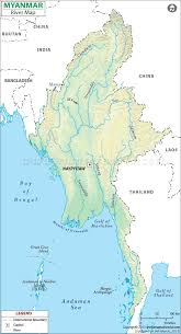 India On A World Map by Myanmar River Map Burma Rivers