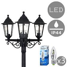 led l post bulbs traditional 1 95m black 3 way ip44 outdoor garden l post light
