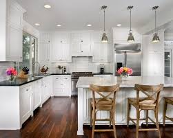 White Kitchen Cabinets With Black Countertops Wood Floor Del - Black granite with white cabinets in bathroom