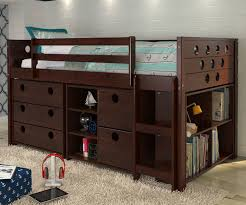 Kids Twin Bed With Storage Twin Size Circles Low Loft Bed In Cappuccino Finish 780atcp