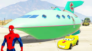 spiderman disney cars lightning mcqueen and big space ship