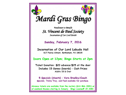 mardi gras bingo mardi gras bingo incarnation of our lord sunday february 7