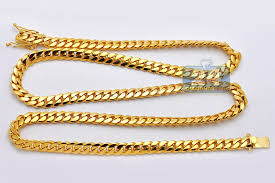 yellow gold necklace chains images Mens miami cuban link chain solid 14k yellow gold 8mm 26 quot jpg