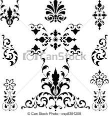 vector of black ornaments on white vector search clip