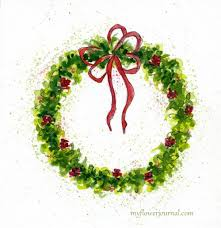 christmas wreath how to paint a watercolor christmas wreath my flower journal
