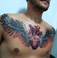 heart u0026 wings on guy u0027s chest best tattoo design ideas