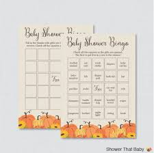 pumpkin baby shower bingo cards printable blank bingo cards