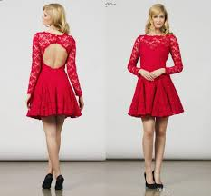 new 2017 red lace long sleeve mini short prom dresses