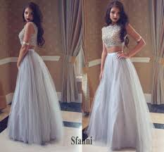 cheap tulle 2017 new cheap two pieces prom dresses cap sleeves gray tulle