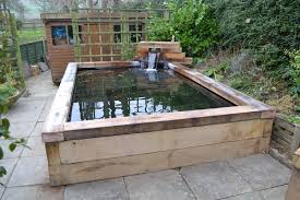 koi carp pond with railway sleepers zoo projects pinterest