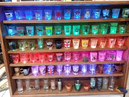 pint glass display cabinet illuminated shot glass shelf