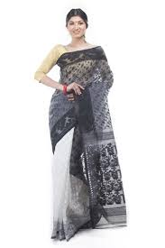 dhakai jamdani exclusive black white half half dhakai jamdani saree from bangladesh