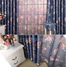 Blue Floral Curtains Blue Bedroom Curtains And Drapes 3 Navy Floral White Polyester