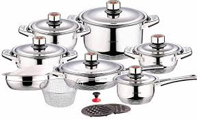 amazon com swiss inox si 7000 18 piece stainless steel cookware amazon com swiss inox si 7000 18 piece stainless steel cookware set includes induction compatible fry pots pans saucepan casserole pots and pans