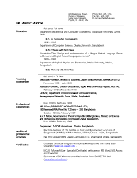 Sample Resume For Teaching Profession For Freshers by Resume Samples For Lecturer In Computer Science Free Resume