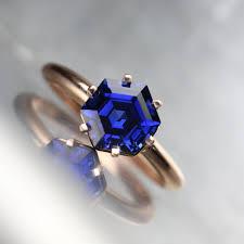 kif wedding band hexagon cut lab created sapphire engagement ring 14k