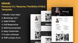 Html5 Resume Mnabi Personal Cv Resume Portfolio Html5 Template Themeforest