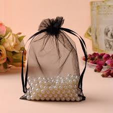 tulle bags black organza jewelry packaging pochette tulle bonbon wedding