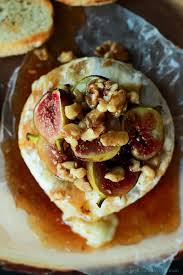 baked brie with roasted fig walnut honey topping