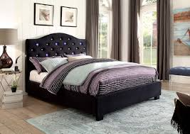 platform bed with led lights cressida contemporary style black flannelette camelback button