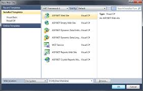 the new asp net default web template in visual studio 2010